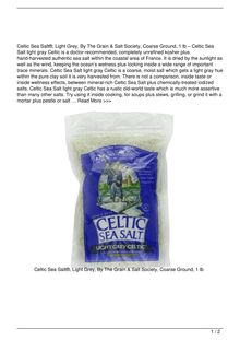 Celtic Sea Salt Light Grey By The Grain amp Salt Society Coarse Ground 1 lb Food Review