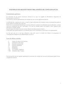 Bac S – Mathématiques – Exemples de restitutions organisées de connaissances