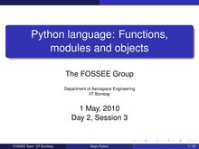 Python language: Functions, modules and objects (session 9)