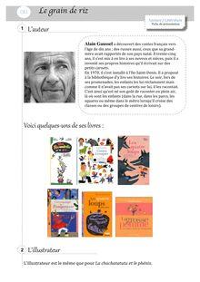Lecture compréhension / littérature – CE1 - Claire T. fiche de présentation grain de riz