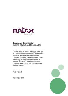 European Commission Internal Market and Services DG