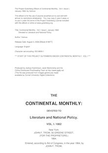 The Continental Monthly, Vol. 1, No. 1, January 1862 - Devoted to Literature and National Policy