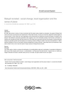 Matupit revisited : social change, local organization and the sense of place - article ; n°1 ; vol.86, pg 21-40