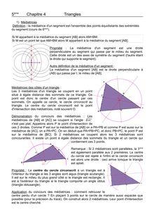 Cours sur les triangles : médiatrices et médianes - 4ème