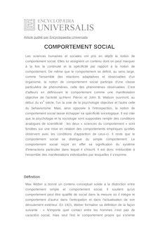 Définition de : COMPORTEMENT SOCIAL - Frédéric GONTHIER