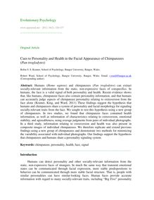 Cues to personality and health in the facial appearance of chimpanzees (Pan troglodytes)