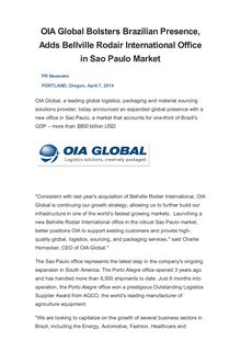 OIA Global Bolsters Brazilian Presence, Adds Bellville Rodair International Office in Sao Paulo Market