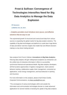 Frost & Sullivan: Convergence of Technologies Intensifies Need for Big Data Analytics to Manage the Data Explosion