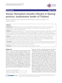 Human Plasmodium knowlesiinfection in Ranong province, southwestern border of Thailand