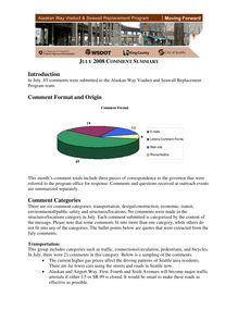 Alaskan Way Viaduct and Seawall Replacement Program - July 2008 Comment Summary