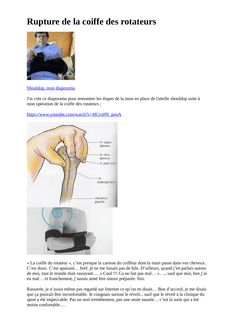 Rupture de la coiffe des rotateurs - helene benoit