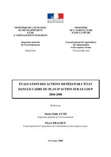 Evaluation des actions menées par l