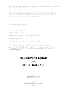 The Serpent Knight - and other ballads