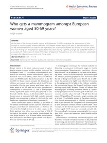 Who gets a mammogram amongst European women aged 50-69 years?