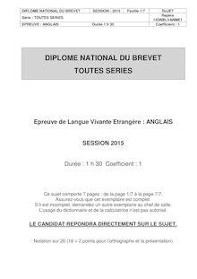 Brevet 2015: sujet Langues Vivantes allemand, anglais, arabe et chinois !