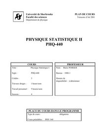 PHYSIQUE STATISTIQUE II PHQ-440