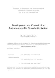 Development and control of an anthropomorphic telerobotic system [Elektronische Ressource] / Bartłomiej Stańczyk