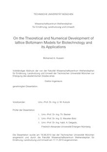 On the theoretical and numerical development of lattice Boltzmann models for biotechnology and its applications [Elektronische Ressource] / Mohamed A. Hussein