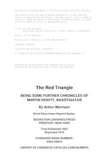 The Red Triangle - Being Some Further Chronicles of Martin Hewitt, Investigator