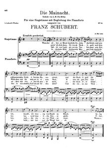 Partition complète, Die Mainacht, D.194, May Night, Schubert, Franz