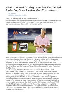 VPAR Live Golf Scoring Launches First Global Ryder Cup Style Amateur Golf Tournaments