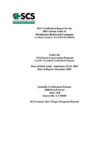 SCS Annual Audit Report 2003
