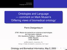 Ontologies and Language  --- comment on Mark Musen