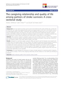The caregiving relationship and quality of life among partners of stroke survivors: A cross-sectional study