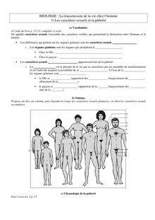 Exercices sur les caractères sexuels et la puberté - SVT 4e