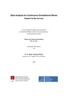 Data analysis for continuous gravitational waves [Elektronische Ressource] : deepest all-sky surveys / von Holger Johannes Pletsch