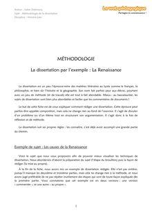 Histoire – Méthodo – La dissertation par l'exemple : la Renaissance