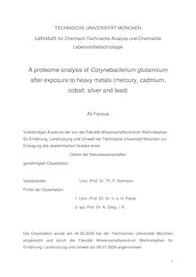 A proteome analysis of Corynebacterium glutamicum after exposure to heavy metals (mercury, cadmium, cobalt, silver and lead) [Elektronische Ressource] / Ali Fanous