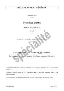 Baccalauréat Physique-Chimie 2016 - Série S, spécialité