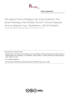 The Utopian Forms of Religious Life. Ernst Troeltsch