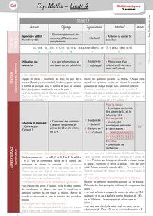 Mathématiques CE1 – Organisation des séances, exercices et leçons : Périodes 1 et 2 - Unité 4 Préparation des séances