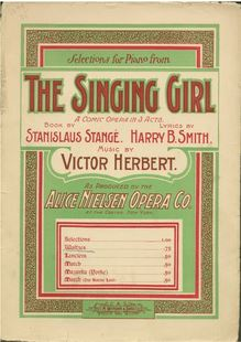 Partition de piano, pour Singing Girl, Herbert, Victor