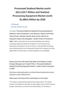 Processed Seafood Market worth $211,210.7 Million and Seafood Processing Equipment Market worth $1,469.5 Million by 2018