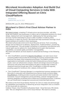 Microland Accelerates Adoption And Build Out of Cloud Computing Services in India With Integrated Offering Based on Citrix CloudPlatform