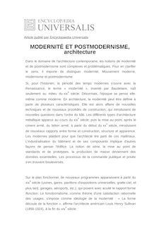 Définition de : MODERNITÉ ET POSTMODERNISME, architecture - Claude MASSU