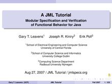 A JML Tutorial - Modular Specification and Verification of ...