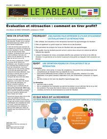 Évaluation et rétroaction: comment en tirer profit?