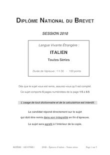 Brevet 2018 : sujets de langue vivante étrangère (italien)