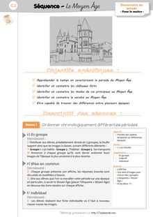 DDM CP/CE1 : Le temps : Le Moyen Âge - 1. La séquence – fiches de préparation