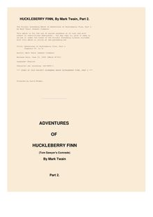 Adventures of Huckleberry Finn, Chapters 06 to 10