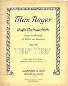 Partition Color covers, ads,  pour violon et Piano, Reger, Max