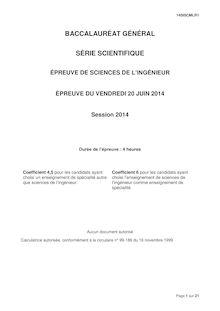 Sujet bac 2014 - Série S -  Sciences de l'ingénieur (SI)