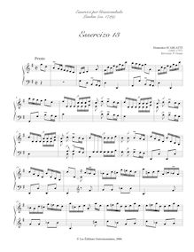 Partition Esserciso 13, Essercizi per Gravicembalo, Lessons for Harpsichord