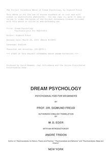 Dream Psychology - Psychoanalysis for Beginners