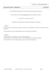 Brevet 2015 - sujet de français - Rédaction