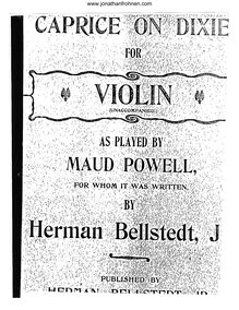Partition Solo violon, Caprice on Dixie, Bellstedt, Herman